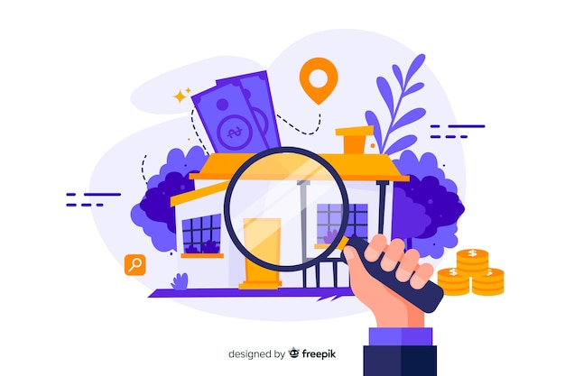 Landing page with house searching concept Free Vector