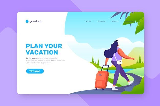 Landing page with illustrated background for travelling Free Vector