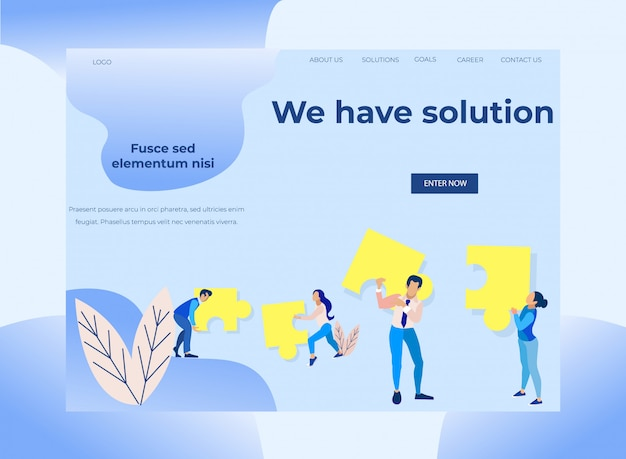 Landing page with inscription we have solution Premium Vector