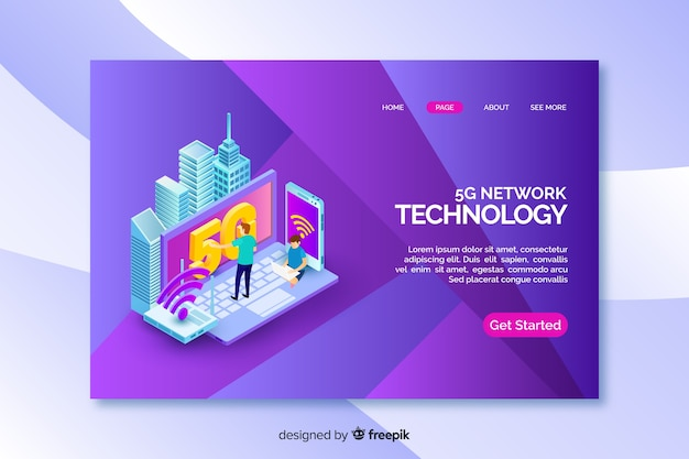 Landing page with isometric 5g technology Free Vector