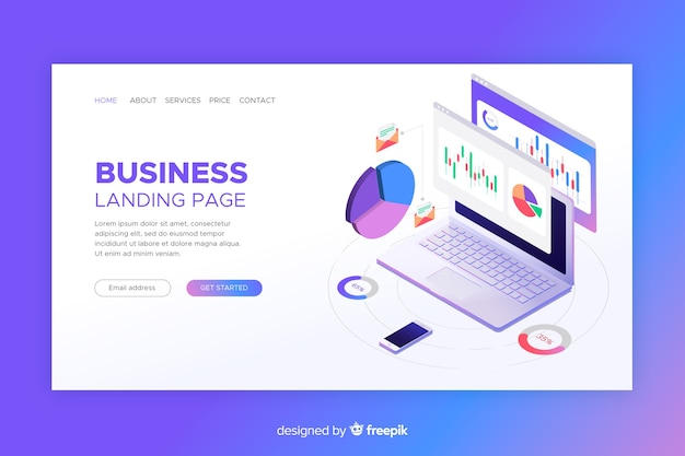 Landing page with isometric laptop with graphs Free Vector