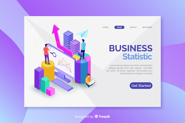 Landing page with isometric marketing graphs Free Vector