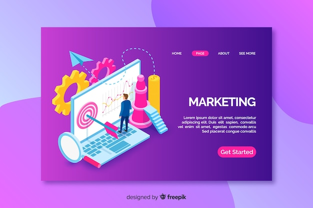 Landing page with isometric marketing laptop Free Vector