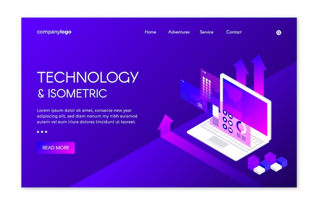 Landing page with isometric technology Free Vector