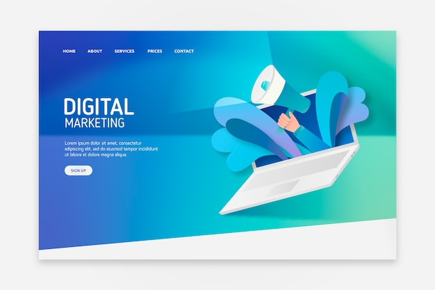 Landing page with laptop concept for template Free Vector