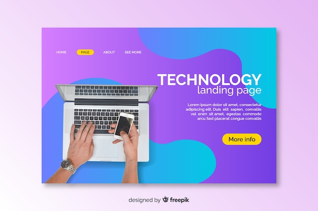 Landing page with laptop liquid effect Free Vector
