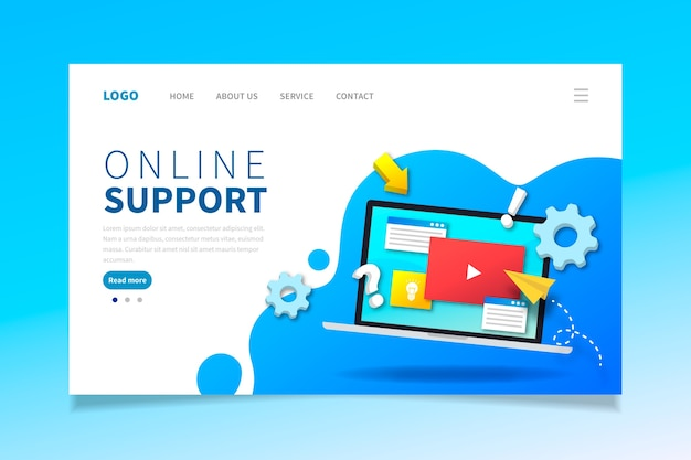 Landing page with laptop Free Vector