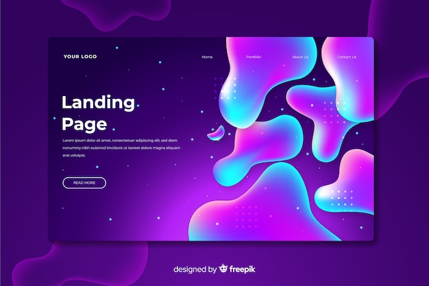 Landing page with liquid effect Free Vector