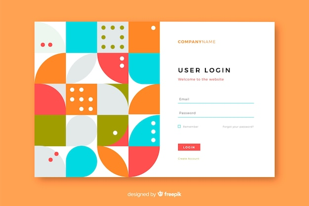Landing page with login and geometric shapes Free Vector