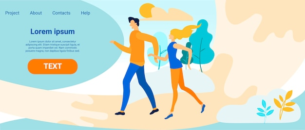 Landing page with man and woman on dating outdoors Premium Vector