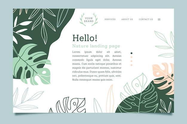 Landing page with nature concept Premium Vector