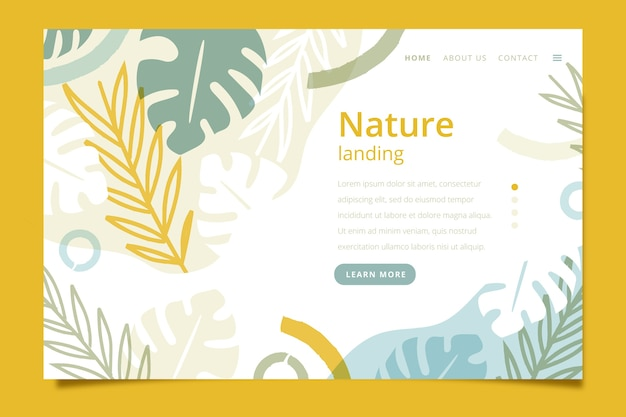 Landing page with nature theme Free Vector