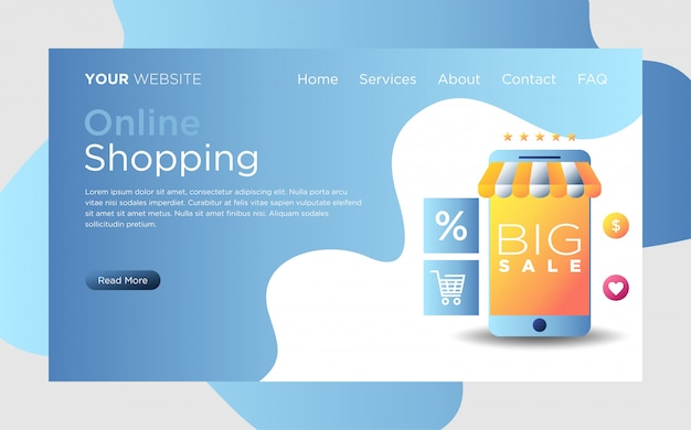 Landing page with online shopping   Premium Vector