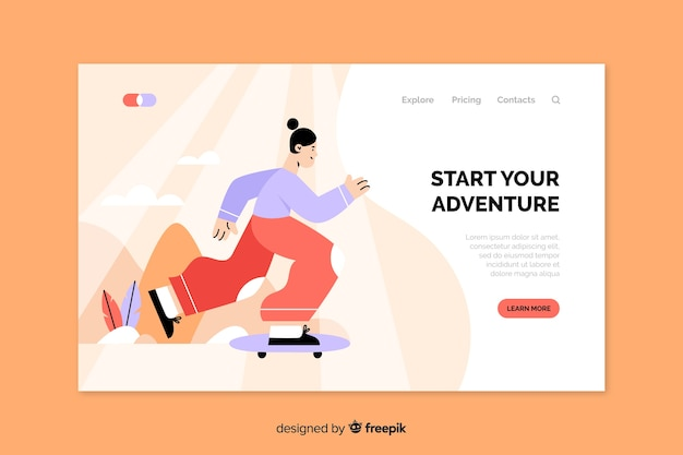 Landing page with outdoor activities concept Free Vector