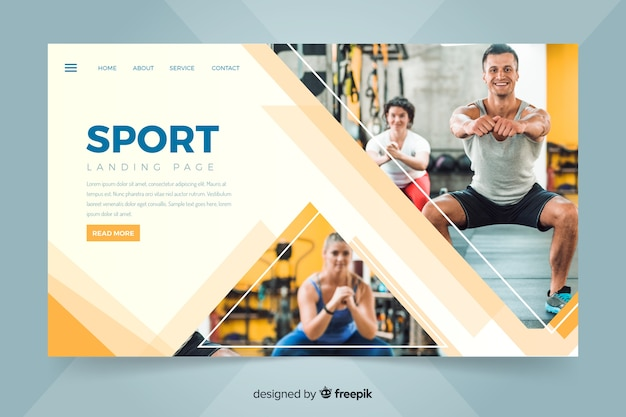 Landing page with people making sport Free Vector