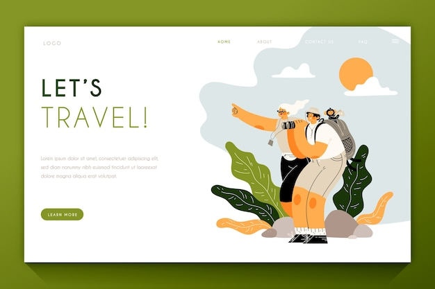 Landing page with people travelling Free Vector
