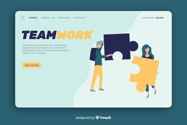 Landing page with persons connecting puzzle Free Vector