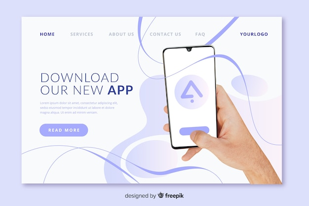 Landing page with phone in hand photo Free Vector
