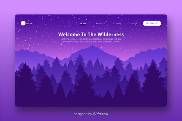 Landing page with purple gradient landscape Free Vector