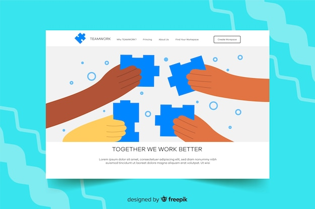 Landing page with puzzle pieces Free Vector