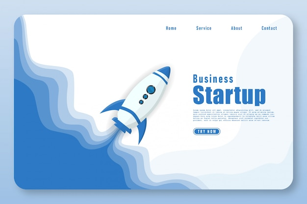 Landing page with rocket launch in papercut style Premium Vector