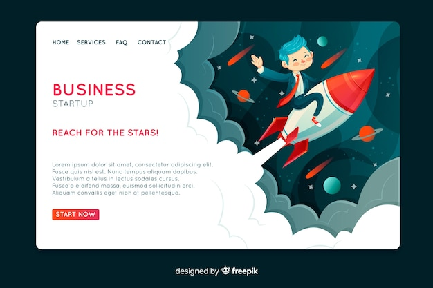 Landing page with a rocket lifting off Free Vector