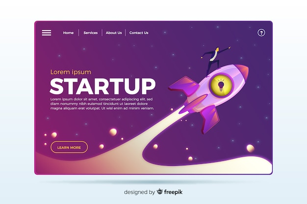 Landing page with a rocket Free Vector