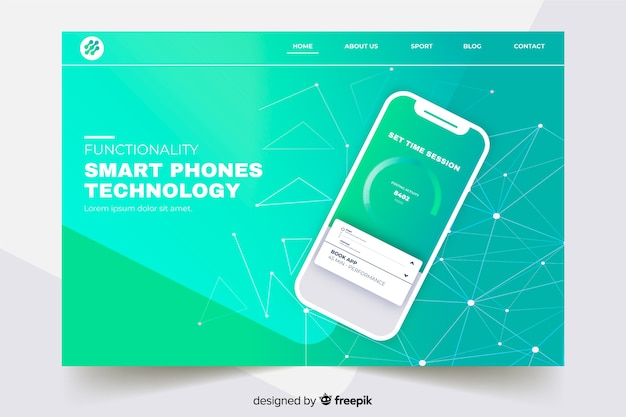 Landing page with smartphone on gradient green shades Free Vector