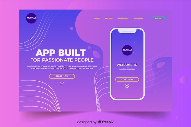 Landing page with smartphone on liquid violet shades Free Vector