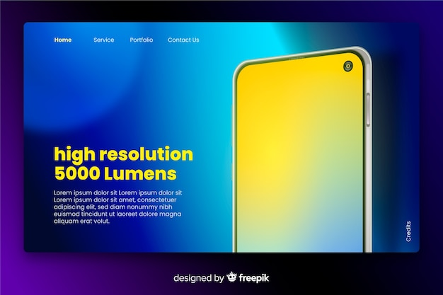 Landing page with smartphone in neon Free Vector