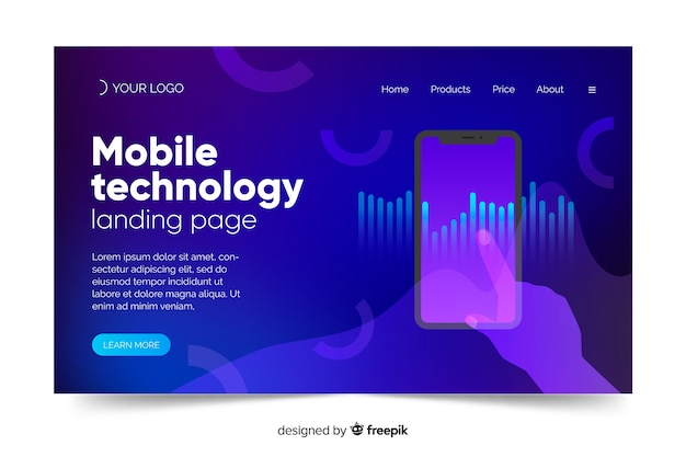 Landing page with smartphone template concept Free Vector