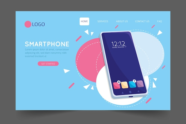 Landing page with smartphone template Free Vector