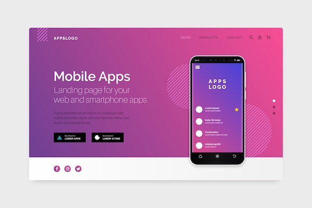 Landing page with smartphone Free Vector