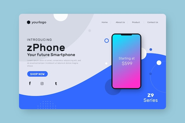 Landing page with smartphone Premium Vector | udemy ux design