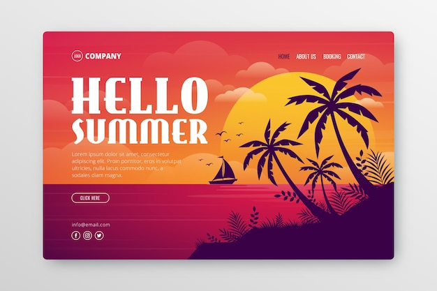 Landing page with summer illustration Free Vector
