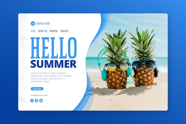 Landing page with summer photo Free Vector