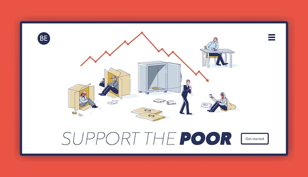 貧しい人々のコンセプトをサポートするランディングページ。ホームレス、失業、破産したキャラクターには助け、お金、食べ物が必要です Premiumベクター