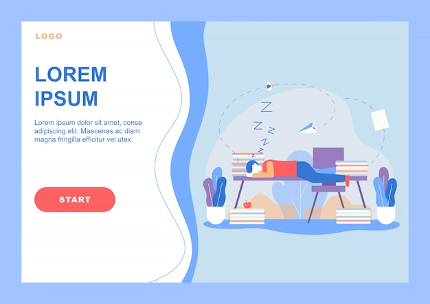 Landing page with tired man sleeps on office desk Premium Vector