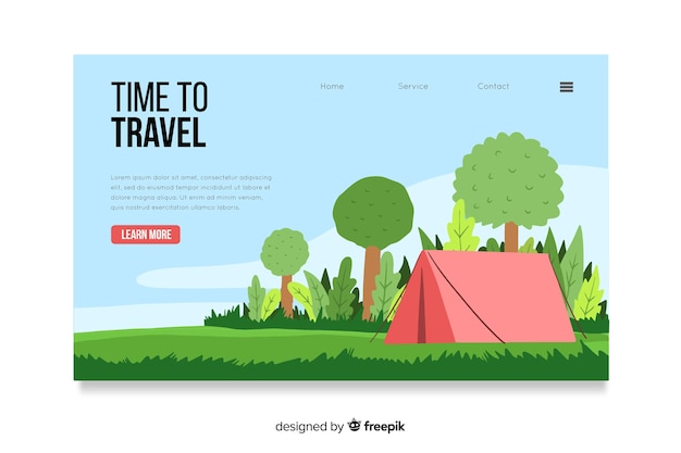 Landing page with travel concept Free Vector
