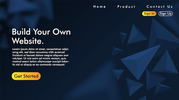 Landing page with triangle Premium Vector