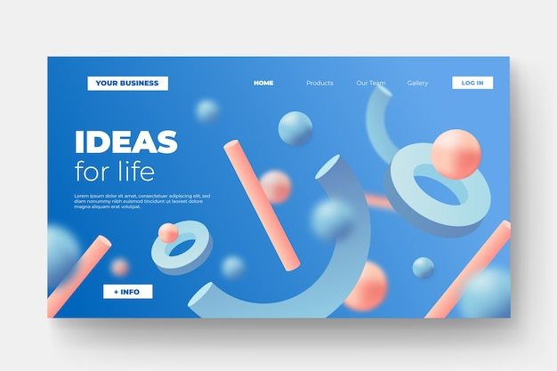 Landing page with tridimensional shapes Free Vector