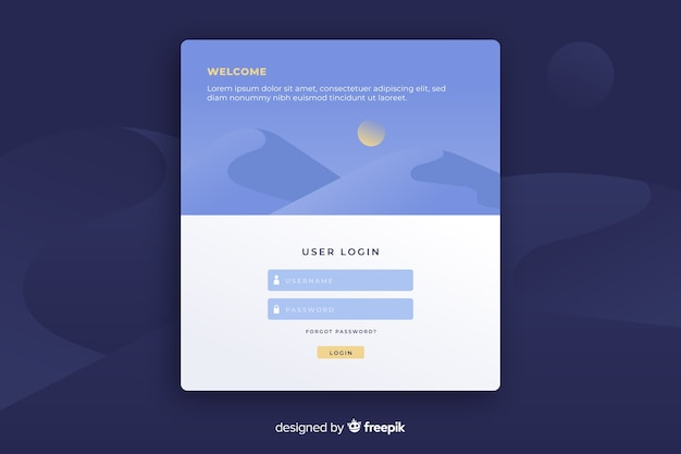 Landing page with user login form Free Vector