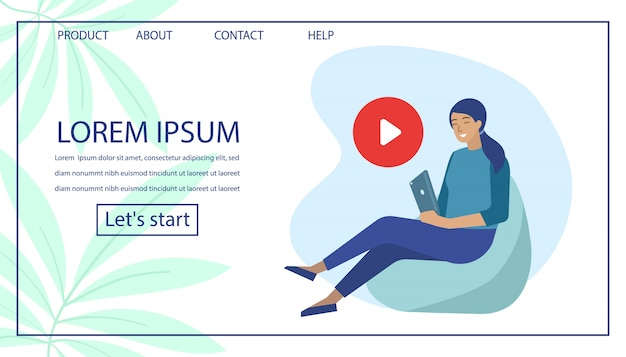 Landing page with woman use video player on tablet Premium Vector