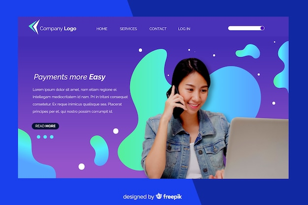 Landing page with woman with laptop photo Free Vector