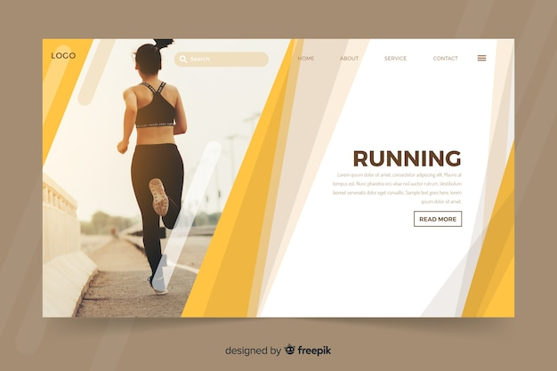 Landing page with young  woman running Free Vector