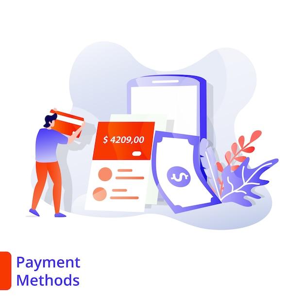 Landing page способы оплаты иллюстрация современный, цифровой маркетинг Premium векторы