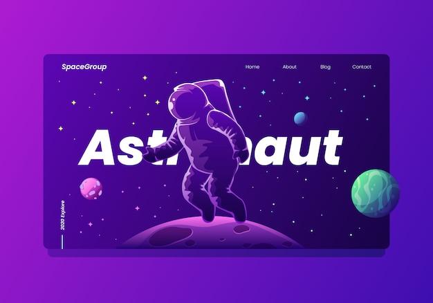 Космонавт в космосе с планетами и звездами landing page Premium векторы