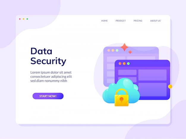 Шаблон безопасности сайта landing page векторный дизайн иллюстрации шаблон Premium векторы