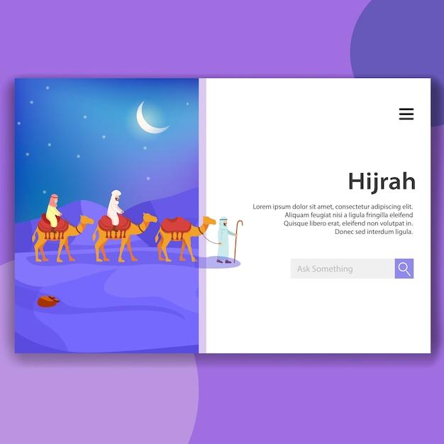 Иллюстрация landing page хиджра ислам миграция значение перемещение Premium векторы