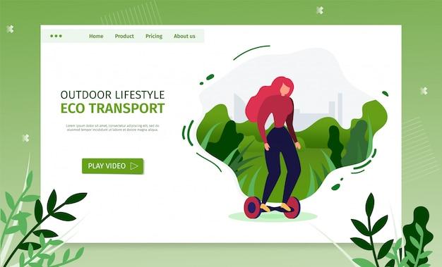 Landing page открытый образ жизни и продвижение экологически транспорта Premium векторы